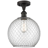 Innovations Lighting 516-1C-OB-G122-10CSN Large Farmhouse Chicken Wire 1 Light 10 inch Oil Rubbed Bronze Semi-Flush Mount Ceiling Light Ballston