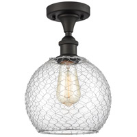 Innovations Lighting 516-1C-OB-G122-8CSN-LED Farmhouse Chicken Wire LED 8 inch Oil Rubbed Bronze Semi-Flush Mount Ceiling Light Ballston