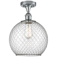 Innovations Lighting 516-1C-PC-G122-10CBK-LED Large Farmhouse Chicken Wire LED 10 inch Polished Chrome Semi-Flush Mount Ceiling Light, Ballston