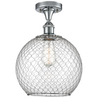 Innovations Lighting 516-1C-PC-G122-10CSN Large Farmhouse Chicken Wire 1 Light 10 inch Polished Chrome Semi-Flush Mount Ceiling Light, Ballston