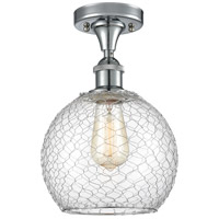 Innovations Lighting 516-1C-PC-G122-8CSN-LED Farmhouse Chicken Wire LED 8 inch Polished Chrome Semi-Flush Mount Ceiling Light Ballston