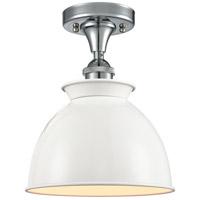 Innovations Lighting 516-1C-PC-M14-W-LED Adirondack LED 9 inch Polished Chrome Semi-Flush Mount Ceiling Light, Ballston