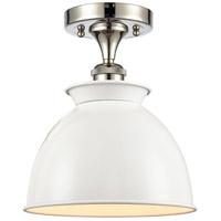Innovations Lighting 516-1C-PN-M14-W-LED Adirondack LED 9 inch Polished Nickel Semi-Flush Mount Ceiling Light, Ballston