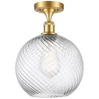 Innovations Lighting 516-1C-SG-G1214-10-LED Large Twisted Swirl LED 10 inch Satin Gold Semi-Flush Mount Ceiling Light, Ballston