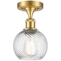 Innovations Lighting 516-1C-SG-G1214-6-LED Small Twisted Swirl LED 6 inch Satin Gold Semi-Flush Mount Ceiling Light, Ballston