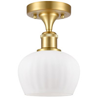 Innovations Lighting 516-1C-SG-G91 Fenton 1 Light 7 inch Satin Gold Semi-Flush Mount Ceiling Light, Ballston