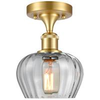 Innovations Lighting 516-1C-SG-G92 Fenton 1 Light 7 inch Satin Gold Semi-Flush Mount Ceiling Light, Ballston