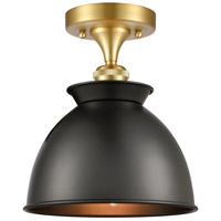Innovations Lighting 516-1C-SG-M14-BK-LED Adirondack LED 9 inch Satin Gold Semi-Flush Mount Ceiling Light, Ballston