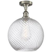 Innovations Lighting 516-1C-SN-G1214-12-LED X-Large Twisted Swirl LED 12 inch Satin Nickel Semi-Flush Mount Ceiling Light Ballston