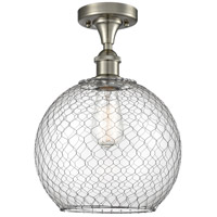 Innovations Lighting 516-1C-SN-G122-10CSN-LED Large Farmhouse Chicken Wire LED 10 inch Satin Nickel Semi-Flush Mount Ceiling Light, Ballston