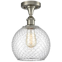 Innovations Lighting 516-1C-SN-G122-8CSN-LED Farmhouse Chicken Wire LED 8 inch Satin Nickel Semi-Flush Mount Ceiling Light Ballston