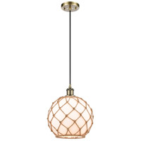 Innovations Lighting 516-1P-AB-G121-10RB Large Farmhouse Rope 1 Light 10 inch Antique Brass Mini Pendant Ceiling Light Ballston