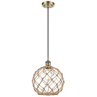 Innovations Lighting 516-1P-AB-G122-10RB Large Farmhouse Rope 1 Light 10 inch Antique Brass Mini Pendant Ceiling Light Ballston