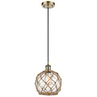 Innovations Lighting 516-1P-AB-G122-8RB Farmhouse Rope 1 Light 8 inch Antique Brass Mini Pendant Ceiling Light Ballston