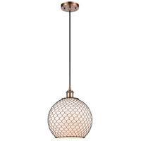 Innovations Lighting 516-1P-AC-G121-10CBK-LED Large Farmhouse Chicken Wire LED 10 inch Antique Copper Mini Pendant Ceiling Light Ballston