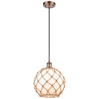 Innovations Lighting 516-1P-AC-G121-10RB Large Farmhouse Rope 1 Light 10 inch Antique Copper Mini Pendant Ceiling Light Ballston