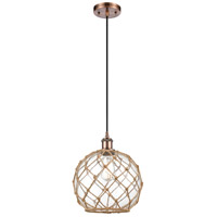 Innovations Lighting 516-1P-AC-G122-10RB-LED Large Farmhouse Rope LED 10 inch Antique Copper Mini Pendant Ceiling Light Ballston