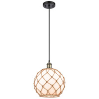 Innovations Lighting 516-1P-BAB-G121-10RB Large Farmhouse Rope 1 Light 10 inch Black Antique Brass Mini Pendant Ceiling Light Ballston