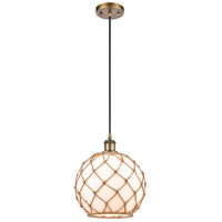 Innovations Lighting 516-1P-BB-G121-10RB Large Farmhouse Rope 1 Light 10 inch Brushed Brass Mini Pendant Ceiling Light Ballston