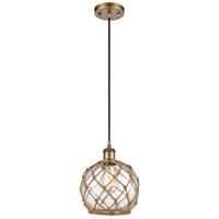 Innovations Lighting 516-1P-BB-G122-8RB-LED Farmhouse Rope LED 8 inch Brushed Brass Mini Pendant Ceiling Light Ballston