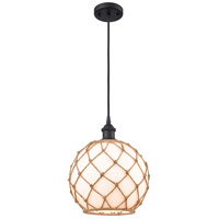 Innovations Lighting 516-1P-BK-G121-10RB-LED Large Farmhouse Rope LED 10 inch Matte Black Mini Pendant Ceiling Light Ballston
