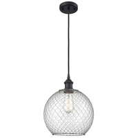 Innovations Lighting 516-1P-BK-G122-10CSN-LED Large Farmhouse Chicken Wire LED 10 inch Matte Black Mini Pendant Ceiling Light Ballston