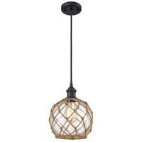 Innovations Lighting 516-1P-BK-G122-8RB-LED Farmhouse Rope LED 8 inch Matte Black Mini Pendant Ceiling Light Ballston