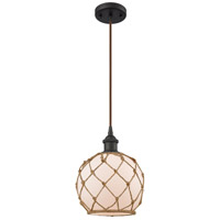 Innovations Lighting 516-1P-OB-G121-8RB-LED Farmhouse Rope LED 8 inch Oil Rubbed Bronze Mini Pendant Ceiling Light Ballston