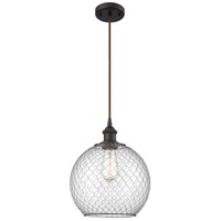 Innovations Lighting 516-1P-OB-G122-10CBK Large Farmhouse Chicken Wire 1 Light 10 inch Oil Rubbed Bronze Mini Pendant Ceiling Light Ballston
