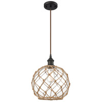 Innovations Lighting 516-1P-OB-G122-10RB Large Farmhouse Rope 1 Light 10 inch Oil Rubbed Bronze Mini Pendant Ceiling Light Ballston