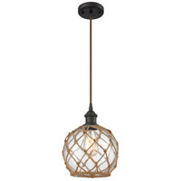 Innovations Lighting 516-1P-OB-G122-8RB-LED Farmhouse Rope LED 8 inch Oil Rubbed Bronze Mini Pendant Ceiling Light Ballston