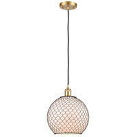 Innovations Lighting 516-1P-SG-G121-10CBK-LED Large Farmhouse Chicken Wire LED 10 inch Satin Gold Mini Pendant Ceiling Light