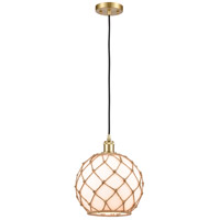 Innovations Lighting 516-1P-SG-G121-10RB-LED Large Farmhouse Rope LED 10 inch Satin Gold Mini Pendant Ceiling Light