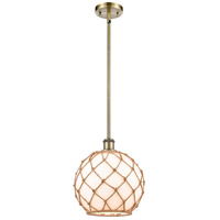 Innovations Lighting 516-1S-AB-G121-10RB-LED Large Farmhouse Rope LED 10 inch Antique Brass Pendant Ceiling Light, Ballston