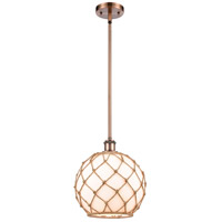 Innovations Lighting 516-1S-AC-G121-10RB-LED Large Farmhouse Rope LED 10 inch Antique Copper Pendant Ceiling Light, Ballston