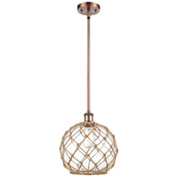 Innovations Lighting 516-1S-AC-G122-10RB Large Farmhouse Rope 1 Light 10 inch Antique Copper Pendant Ceiling Light Ballston