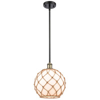 Innovations Lighting 516-1S-BAB-G121-10RB-LED Large Farmhouse Rope LED 10 inch Black Antique Brass Pendant Ceiling Light, Ballston