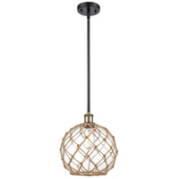 Innovations Lighting 516-1S-BAB-G122-10RB Large Farmhouse Rope 1 Light 10 inch Black Antique Brass Pendant Ceiling Light Ballston