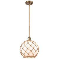 Innovations Lighting 516-1S-BB-G121-10RB-LED Large Farmhouse Rope LED 10 inch Brushed Brass Pendant Ceiling Light, Ballston