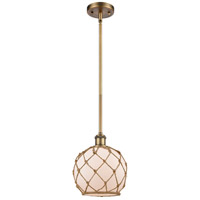 Innovations Lighting 516-1S-BB-G121-8RB Farmhouse Rope 1 Light 8 inch Brushed Brass Pendant Ceiling Light Ballston