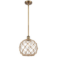 Innovations Lighting 516-1S-BB-G122-10RB Large Farmhouse Rope 1 Light 10 inch Brushed Brass Pendant Ceiling Light Ballston