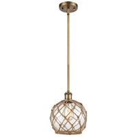 Innovations Lighting 516-1S-BB-G122-8RB-LED Farmhouse Rope LED 8 inch Brushed Brass Pendant Ceiling Light Ballston