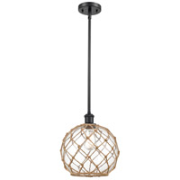 Innovations Lighting 516-1S-BK-G122-10RB-LED Large Farmhouse Rope LED 10 inch Matte Black Pendant Ceiling Light Ballston