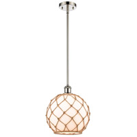 Innovations Lighting 516-1S-PN-G121-10RB-LED Large Farmhouse Rope LED 10 inch Polished Nickel Pendant Ceiling Light Ballston