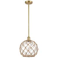 Innovations Lighting 516-1S-SG-G122-10RB-LED Large Farmhouse Rope LED 10 inch Satin Gold Pendant Ceiling Light Ballston