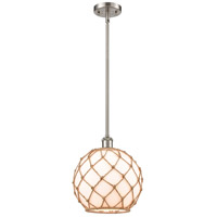 Innovations Lighting 516-1S-SN-G121-10RB Large Farmhouse Rope 1 Light 10 inch Satin Nickel Pendant Ceiling Light Ballston