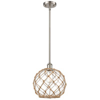 Innovations Lighting 516-1S-SN-G122-10RB Large Farmhouse Rope 1 Light 10 inch Satin Nickel Pendant Ceiling Light Ballston
