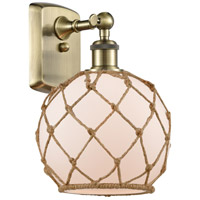Innovations Lighting 516-1W-AB-G121-8RB-LED Farmhouse Rope LED 8 inch Antique Brass Sconce Wall Light Ballston