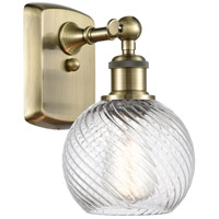 Innovations Lighting 516-1W-AB-G1214-6-LED Small Twisted Swirl LED 6 inch Antique Brass Sconce Wall Light, Ballston