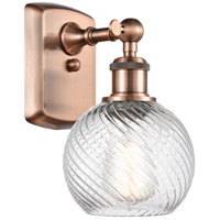 Innovations Lighting 516-1W-AC-G1214-6-LED Small Twisted Swirl LED 6 inch Antique Copper Sconce Wall Light Ballston